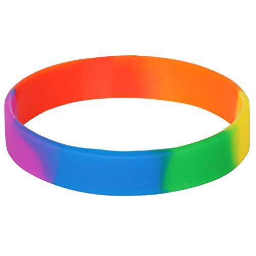 mband Neuheit Hochwertiges LGBT Gay Pride Peace Diversity Silikon Rainbow Armband ()