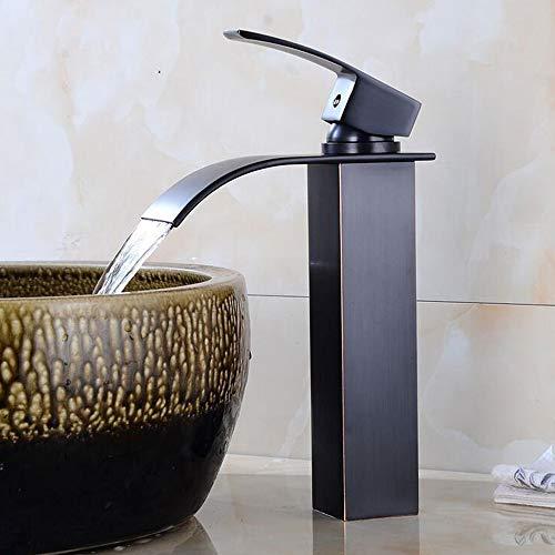 Antique haute Mitigeur bain Robinet mitigeur cascade mitigeur de lavabo Noir mat haute Embout de robinet de lavabo mitigeur monocommande avec bec haut en laiton moulé Huile frotté bronze