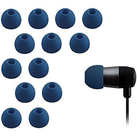 Xcessor Silicona Almohadillas de Repuesto Para Auriculares Internos 7 pares (Juego de 14 piezas). Compatible con la Mayoría en el Oído Marcas Auriculares. Talla: MEDIANO (M). Azul