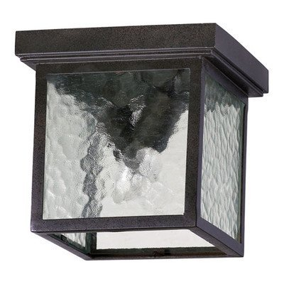 3919-9-86 Outdoor Flush Mounts with Clear Hammered Shades, Bronze by Quorum ()