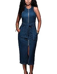2f0ae0998 Womens Sleeveless Belt Denim Dress Bodycon Zip-up Split Pencil Dress  Cocktail Party Club Midi