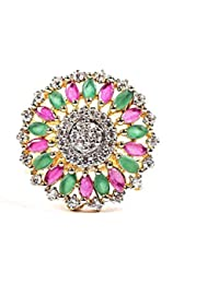 IGP High Quality Cz Studded With Multicolor Stone Flashy Gold Plated Adjustable Vibrant Ring For Women And Girls