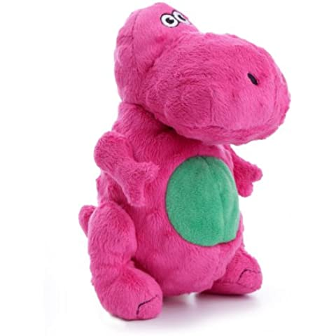 goDog Dinos T-Rex Tough Plush Dog Toy with Chew Guard Technology, Pink, Small by goDog