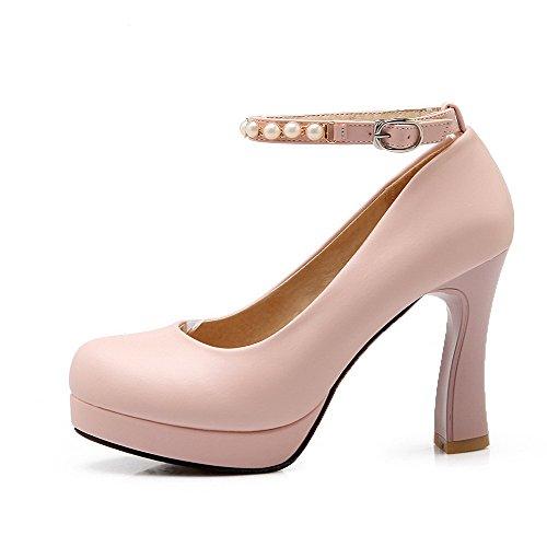 Absatz Hoher Pumps Zehe Schnalle Damen Schuhe Allhqfashion Eingelegt Weiß Pu Rund PqTBacygw
