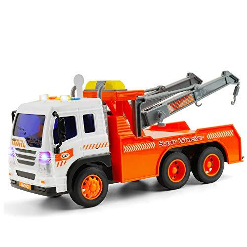 GizmoVine Spielzeugautos Reibung angetrieben Feuerwehrauto Baby Spielzeug Maßstab 1/16 BauSpielzeug mit Lichtern und Tönen für Jungen und Mädchen (2019 Aktualisierte) (Abschleppfahrzeug)