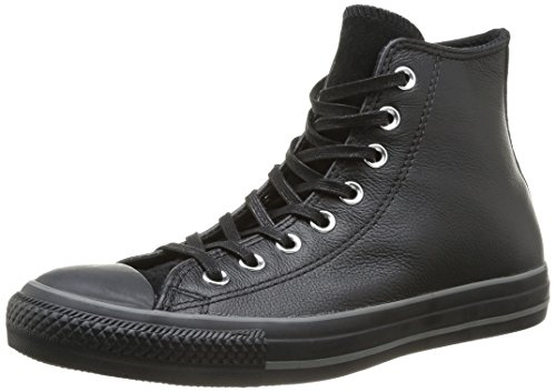 Converse, All Star Hi Leather Suede Sneaker,Unisex Adulto Black/Silver