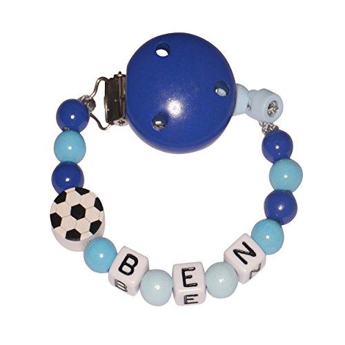 Schnullireich Personalisierte Schnullerkette mit Namen, max. 7 Zeichen, Blau Fußball (Junge) Fußball-zeichen