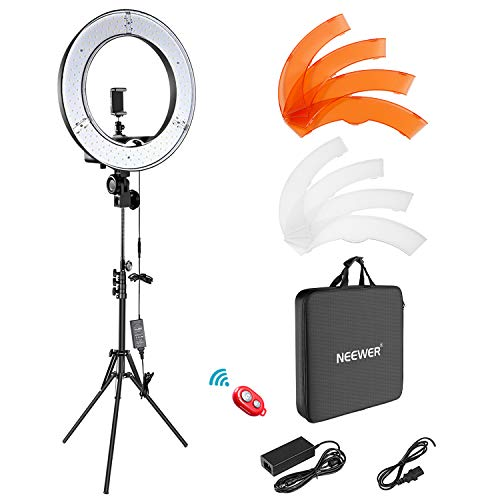 Neewer Luce ad Anello LED 48 Esterno 55W 5500K Dierabile con Stativo di Luce Ricevitore Bluetooth per Smartphone Youtube Vine Autoritratto