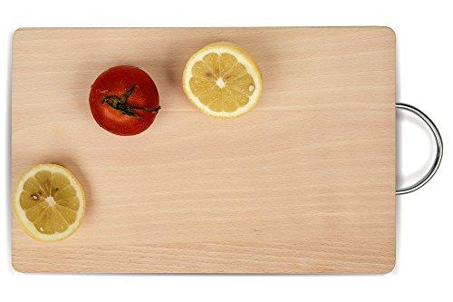 Planche à découper avec poignée métallique 21 x 33 cm (L x L x H) Qualité de la viande, des légumes et du fromage. De qualité professionnelle pour la force et la durabilité
