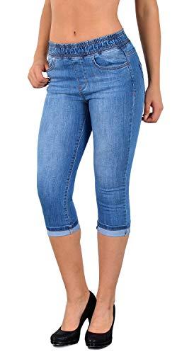 041bb3d20753d0 ESRA Damen Capri Jeans Hose Skinny Jeanshose mit Gummibund Caprijeans bis  Übergröße J460
