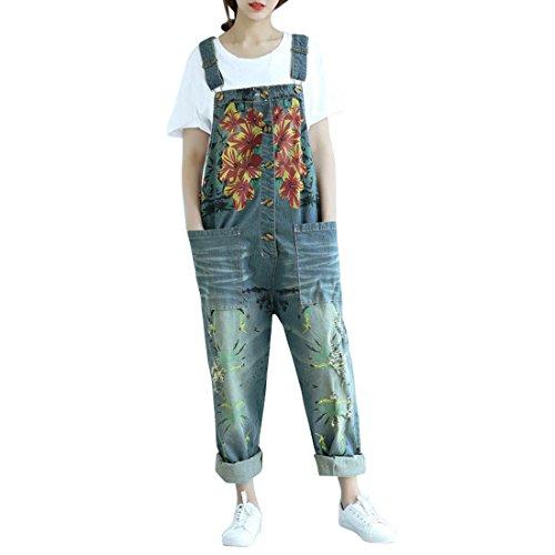 SiDiOU Group Damen Casual Printed Baggy Hose Weite Bein Latzhosen Baumwolle Spielanzug Jumpsuit Spielanzug (One Size, Style 2-Dunkelblau)