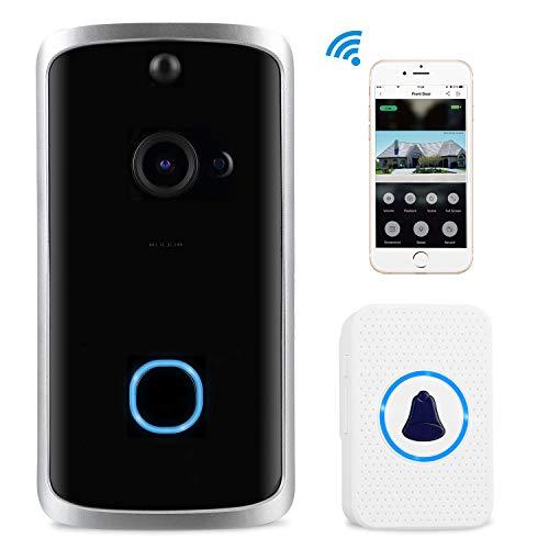 Sonnette Vidéo sans Fil, Mbuynow 720P Video Doorbell sans Fil avec Audio Bidirectionnel,Détection de Mouvement PIR,Vision Nocturne Compatible avec iOS Android