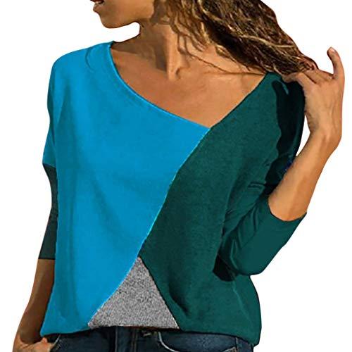➤Refill➤ Blusen & Tuniken für Damen, T-Shirts für Damen,Damen V Ausschnitt Kurzarm/Langarm Sommer Casual Farbblock T Shirt Top Bluse Oberteil