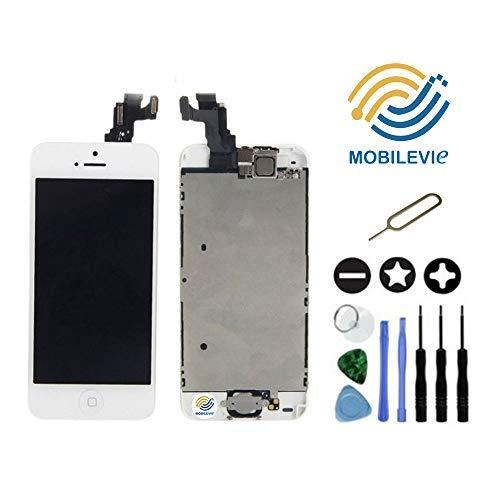 Mobilevie Ecran LCD Retina + Vitre Tactile Tout Assemblé Complet sur châssis pour Iphone 5C Blanc + Outils