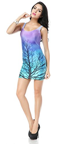 THENICE damen sexy Slim Kleid Elastizität Weste Rock Tree branches
