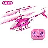 ziwing 10 Jahre alt und bis Mädchen Geschenk rosa Mini-Fernbedienung Hubschrauber Spielzeug für Kinder Mädchen, Indoor fliegen Spielzeug RC 3,5 Kanal Gyro Hubschrauber Flugzeug