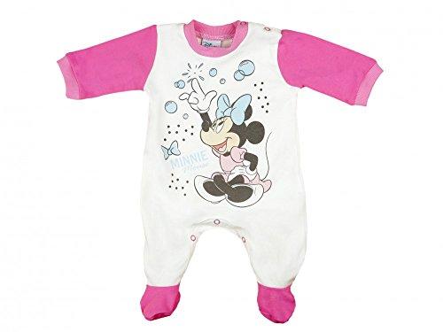Disney Mädchen Baby-Strampler mit Füßchen, Jersey, von Minnie Mouse in GRÖSSE 56, 62, 68, Weiss mit rosa, Baby-Schlafanzug LANG-ARM mit Druck-Knöpfen, Spiel-Anzug für Neugeborene Größe 68