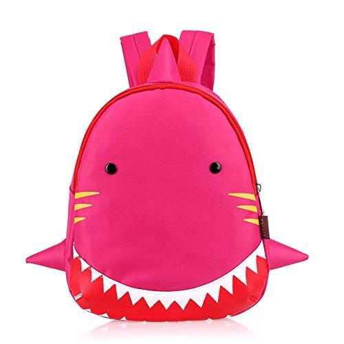 Dorapocket Children 3D Cute Cartoon Shark School Nursery Bag Kid Travel Backpack,Rose Red