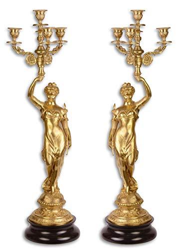 Casa-Padrino Conjunto de candelabro Barroco Oro/Negro 20 x 20 x H. 64 cm - Candelabro de Estilo...