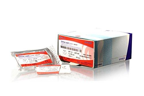 Vitrex PQ 0256 Chirlac Rapid Nahtmaterial, USP: 4/0, 75 cm, HR 18 mm Nadel, Natur (24-er Pack)