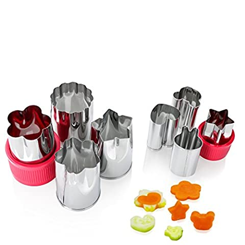 Vegetable Cutter Shapes Set, BOJIN Stainless Steel Cookie Cutters Fruit Cutters Cheese Presses Stamps, Flower Shape Slicer Cut Tool for Kids (8