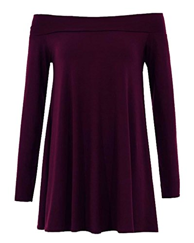 Fast Fashion - Robe Manches Longues Swing L'épaule Off Plaine - Femmes Violet