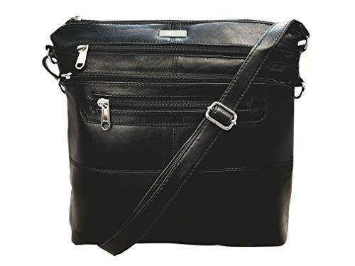 Quenchy london borsa a tracolla da donna in vera pelle, tracolla regolabile con 7 tasche, h25cm x l26cm x p8cm - ottima idea regalo - ql922k nera