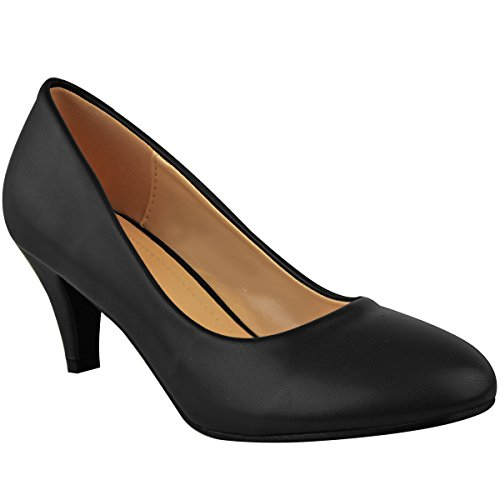 Womens Ladies Low Heel Court Shoes Comfort Work Office Formal Wedding Size...