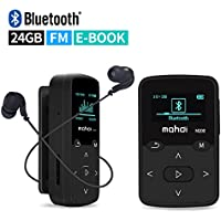 Mymahdi Clip Musical Sport, Lecteur MP3 Bluetooth 24 Go LCD écran Radio FM