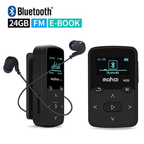 Mymahdi Sport-Musikclip, 24 GB Bluetooth-MP3-Player mit UKW-Radio Sprachaufzeichnungsfunktion, Lila mit LCD-Bildschirm und Speicherkartensteckplatz, Unterstützung bis zu 128 GB
