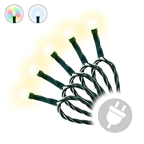 100er LED Lichterkette grünes Kabel Weihnachtsbeleuchtung Innen Außen (warmweiß)