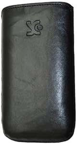 Original Suncase Echt Ledertasche (Lasche mit Rückzugfunktion) für Huawei U8860 Honor in wash-schwarz