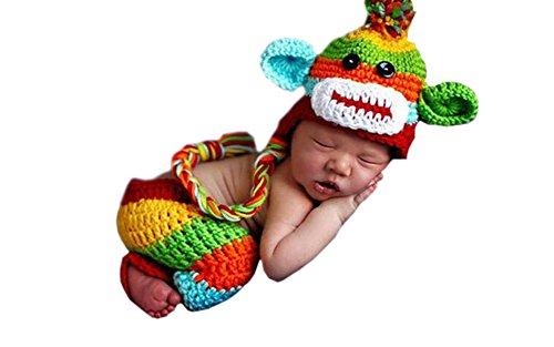 DELEY Unisex Baby Rainbow Monkey Kostüm Kleinkind Häkeln Stricken Hut Hose Foto Requisiten 0-6 Monate (Monkey Kleinkind Und Kinder Kostüm)