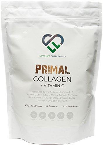 LLS Primal Collagene + Vitamina C | Collagene bovino idrolizzato e vitamina C per la produzione di collagene avanzata | Paleo / Primal Friendly | Senza Glutine e Senza Latticini | 456g / 30 porzioni