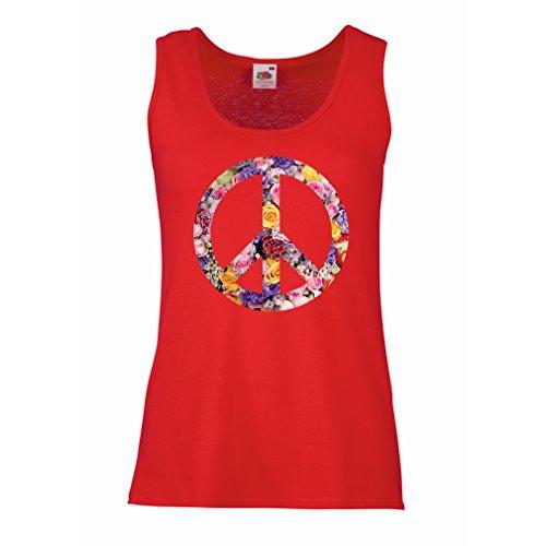 lepni.me Damen Tank-Top Friedenssymbol, 60er, 70er Jahre, Hippie, Friedenszeichen Blume, Sommer, Retro, Swag (Small Rot Mehrfarben) (60 70 Kostüm Ideen)