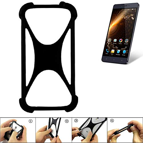 K-S-Trade Handyhülle für Allview P9 Energy Lite Schutz Hülle Silikon Bumper Cover Case Silikoncase TPU Softcase Schutzhülle Smartphone Stoßschutz, schwarz (1x)