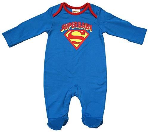 (GetWivvit Jungen Baby Superbaby Superman Hero Schlafanzug Strampler Größen von Winzig Prem Neugeborene bis 3 Monate - Blau, Newborn)