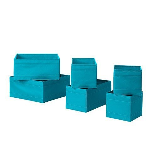 IKEA SKUBB Box in türkis; 6er Set