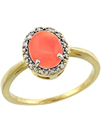 9ct Yellow Gold Natural Coral Ring Oval 8x6 mm Diamond Halo, sizes J - T