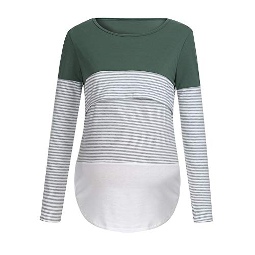 LHWY Umstandsmode Damen Pullover Frauen Schwangere Krankenpflege-Baby-Mutterschaftslangärmelige Gestreifte Blusen-Kleidung (Krankenpflege Gestreifte Kostüm)