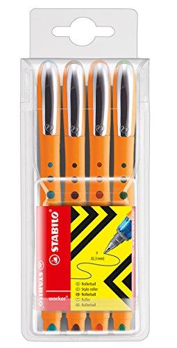 Preisvergleich Produktbild Tintenroller - STABILO worker+ - fein - 4er Pack - grüne, rot, blau, schwarz