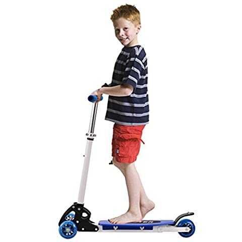 Mini Adjustable Foldable Kick Scooter Anti-skid 3 Wheel Kickboard Scooter Tretroller for Boys Girls Children Kids Blue (3-12 Years) (UK STOCK)