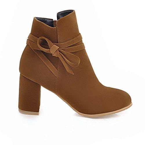 UH Chaussures Femmes Bottines de Cheville avec Lacet de Noeud Bout Pointu Talons Bloc de 7 CM Confortables Marron