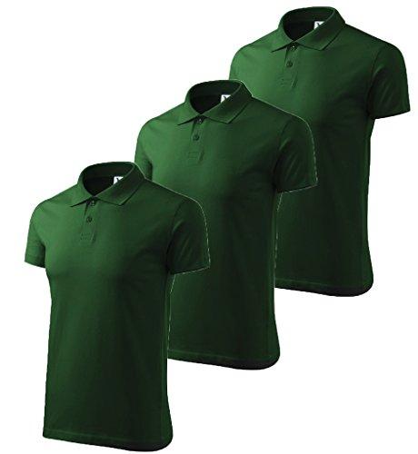 3er Pack Dress-O-Mat Herren Poloshirt Shirt Polohemd Grün