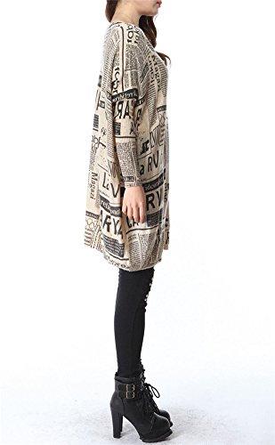 LATH.PIN Femme Pull Robe Tricote Chandaille Lâche Manteau Longue Imprimé Journal Retro Style Col Rond Large Taille Unique Beige