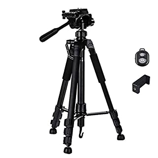 Camera Tripod,ANSCIO Portable Travel Aluminum Lightweight Tripod for Canon Nikon Sony Olympus DV DSLR SLR with Phone Clip,Bubble Level,Load Up to 22lbs/10kg