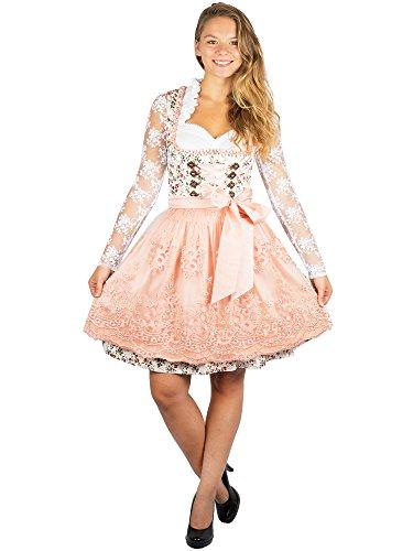 Krüger Midi Dirndl 44985-15 apricot oder rosa 50er oder 60er Länge