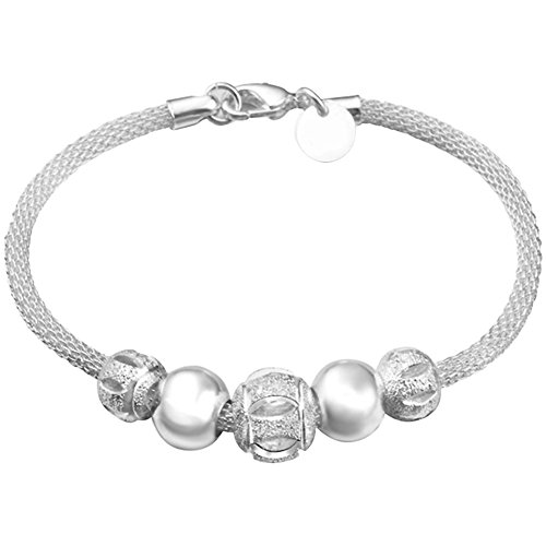 Vi.yo Bracelet Forme Grille Bracelet Perle Argenté Bracelet Argent pour Femme avec Chaîne Chaussures Elégantes Style Nouveau