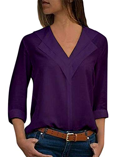 Damen Chiffon Langarmshirt V-Ausschnitt Locker Shirt Casual Bluse Einfarbig Frauen Oberteile Lila 42