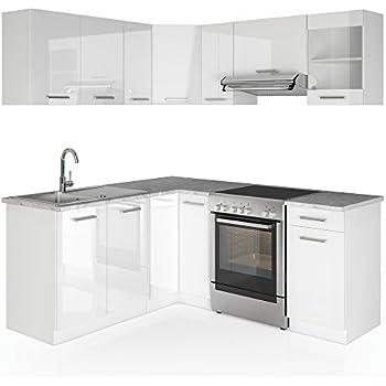 Vicco winkelküche küchenzeile 190 x 170 cm weiß hochglanz küche in l form